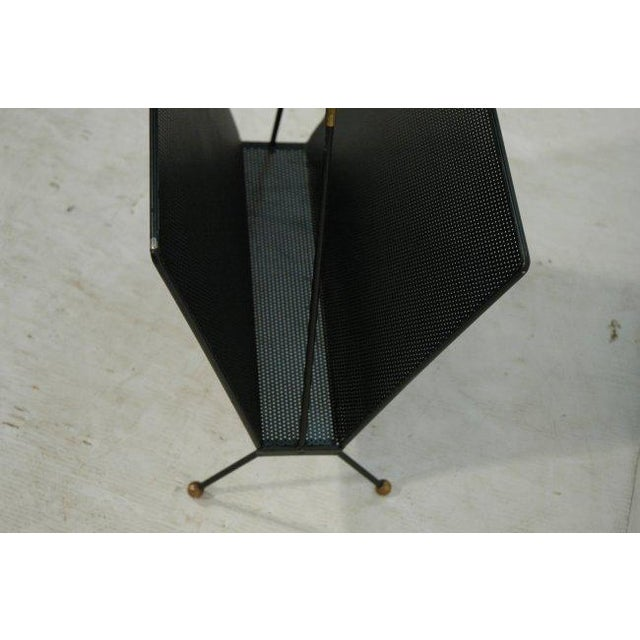 Modernist Mid Century Pierced Metal Magazine Rack with Brass Accents - Image 3 of 4