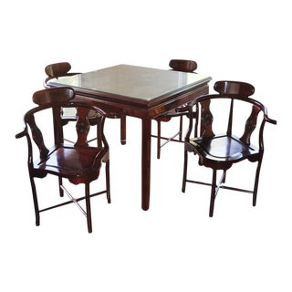 Hollywood Regency Chinoiserie Game Table & Chairs Chinese Mahjong Table and Chairs