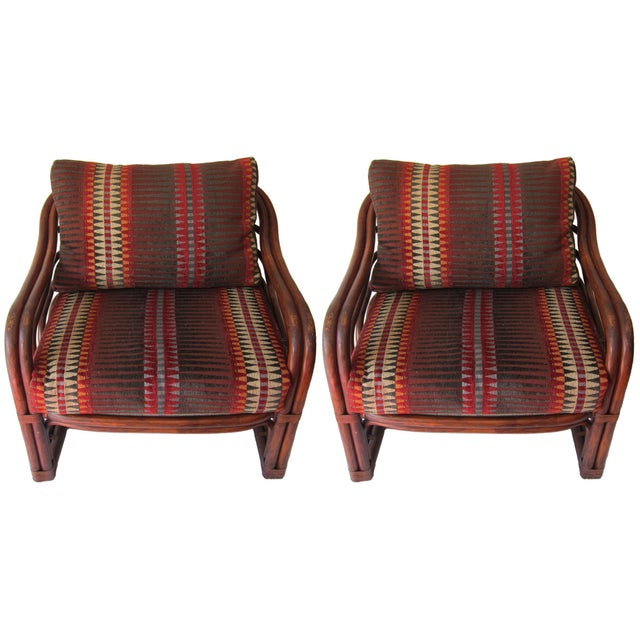 Vintage Rattan Lounge Chairs - Pair - Image 1 of 2