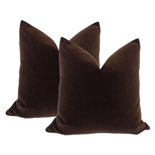 "22"" Chocolate Velvet Pillows - a Pair"