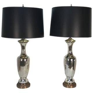 Tapering Mercury Glass Lamps - A Pair