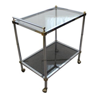Mid Century Modern chrome and glass tea / bar cart