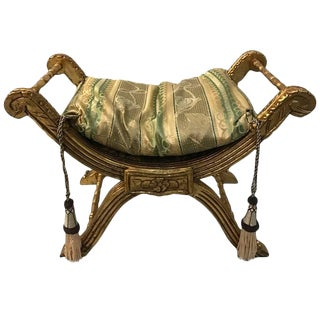 Giltwood Bench with Pillow and Nailheads