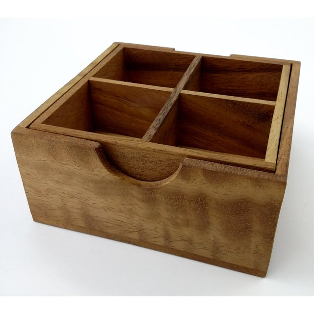Handmade Sectioned Wood Box with Lid - Image 3 of 6