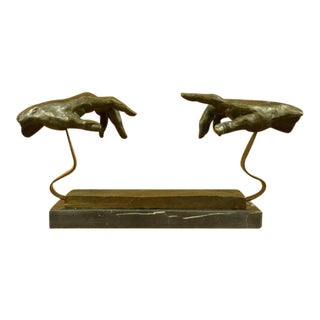 Touching Hand Bronze Sculpture on Marble Base