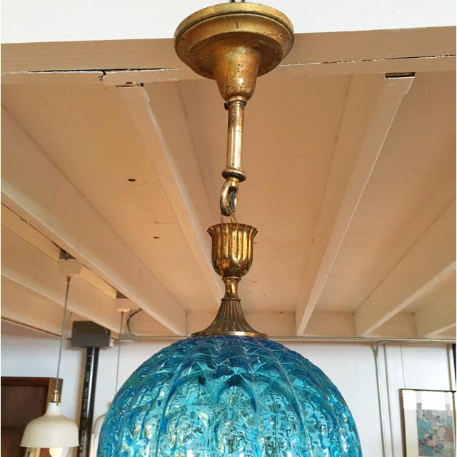 Vintage Blue Murano Glass Light Pendant - Image 4 of 5