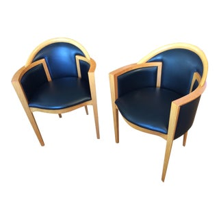 Modern Blonde Wood & Black Leather Armchairs - A Pair