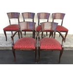 Image of Italian Red Upholstered Wood Dining Chairs- Set of 6