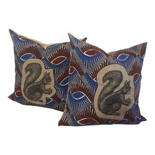 Linen Squirrel Appliqué Accent Pillows - A Pair