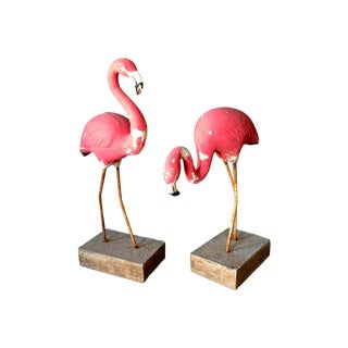 Vintage Concrete Flamingos - A Pair