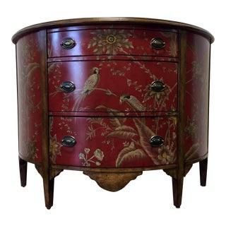 Chinoiserie Red Painted Floral Demilune Buffet Chest