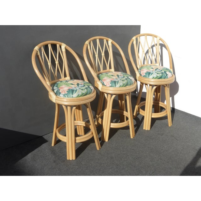 Mid-Century Faux Bamboo Bar Stools - Set of 3 - Image 3 of 11