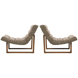 Pair of Mid Century Scoop Lounge Chairs, In Style of Milo Baughman
