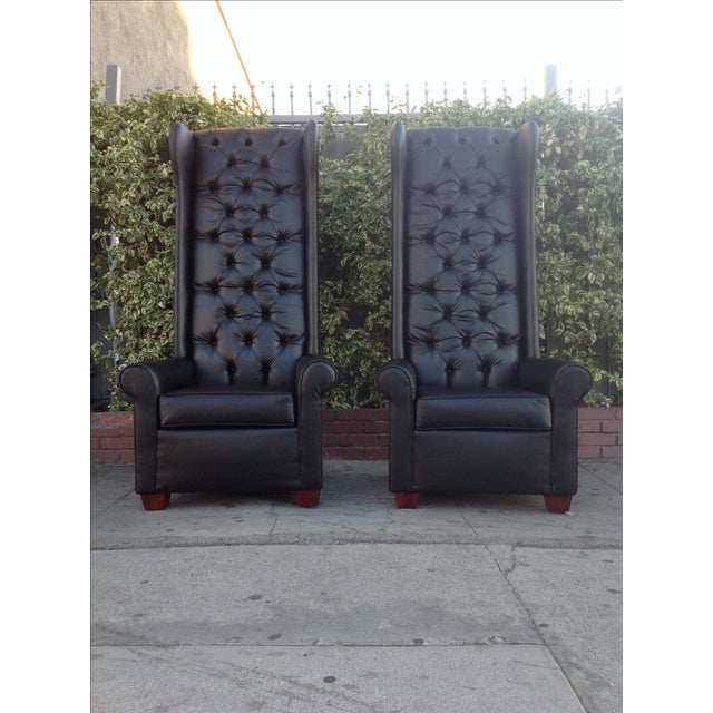 Black Tall Tufted Chairs - A Pair - Image 6 of 6
