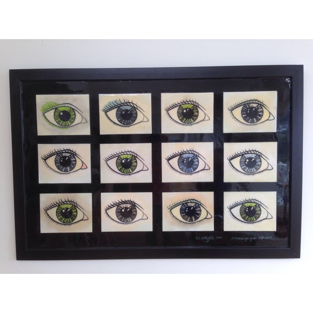 Framed Mixed Media Series of Eyes - Image 2 of 5