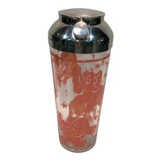 Vintage Hazel-Atlas Pink Elephant Glass Cocktail Shaker