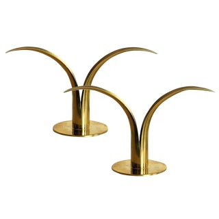Lily Shaped Ystad Metall Brass Candlestick Holders - A Pair