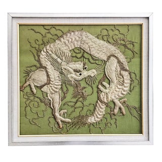 Green Silk Embroidered Dragon