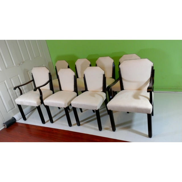 White Suede Deco Dining Chairs - Set of 8 - Image 2 of 11