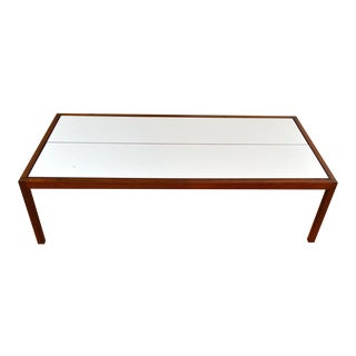 Knoll Walnut and Laminate White Coffee Table