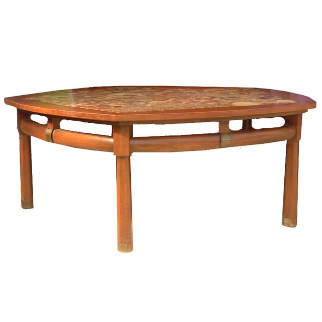 Mid Century Modern Marble Top Coffee Table: Mid-Century Modern Wood And Marble Coffee Table