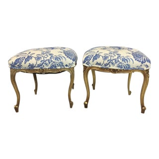 Giltwood French Chinoiserie Ottomans - A Pair