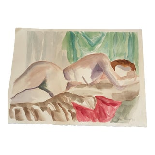Vintage Reclining Female Nude Study Watercolor Painting