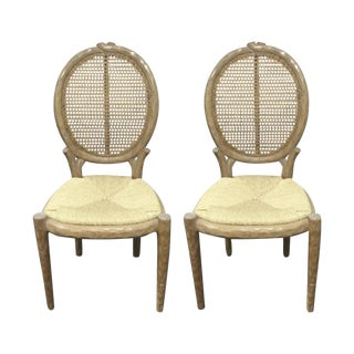 Louis XVI Wood Textured Designer Chairs - Pair