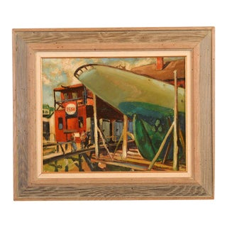 "Hy Klebanow ""Esso Industrial Shipyard"" Signed Oil Painting"