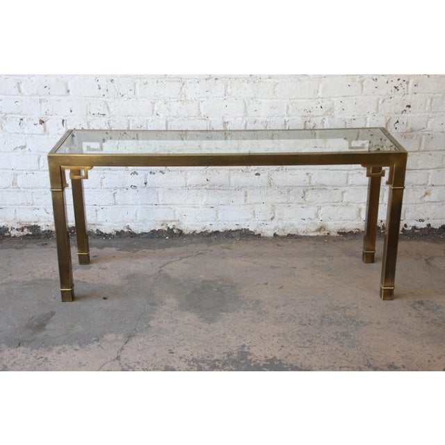 Mastercraft Hollywood Regency Brass and Glass Console Table with Greek Key Motif - Image 2 of 8