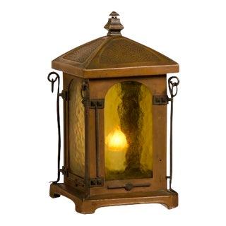 Antique French Art Nouveau Period Copper Table Top Lantern circa 1900