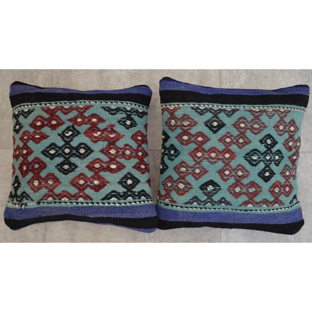Hand-Woven Turkish Kilim Pillow Covers - A Pair - Image 5 of 7