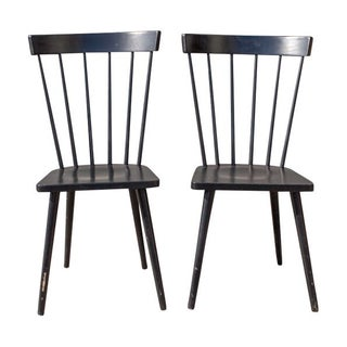 Black Dining Chairs With Slated Back - A Pair