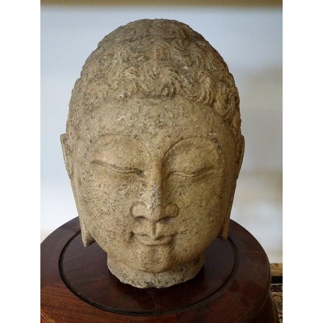 Antique guan yin chinese stone head carving chairish