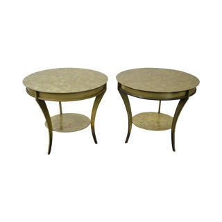 Studio Custom Crafted Pair of Brushed Steel Gold Finish Round Side Tables