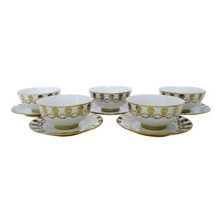 Skull & Crossbones Tea Cups and Saucers - Set of 5