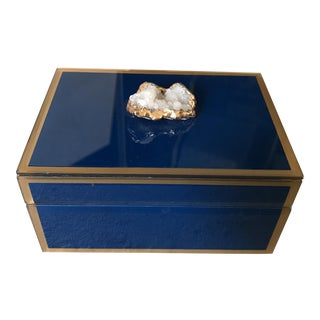 Druzy Crystal Sapphire Colored Glass Box