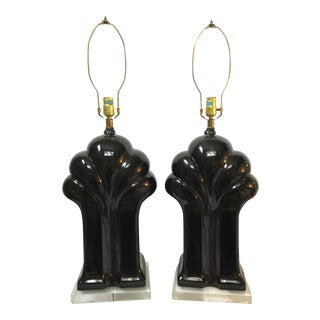 Art Deco Black Ceramic and Lucite Waterfall Table Lamps - A Pair