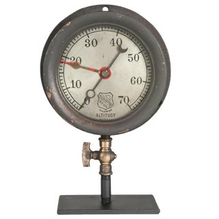 Vintage Ashcroft Altitude Gauge On Stand