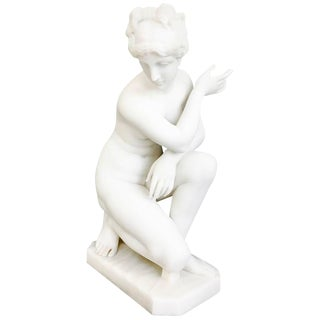 White Marble Sculpture of Crouching Venus by Pietro Bazzanti