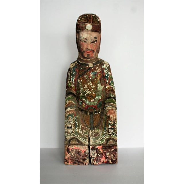 Early Chinese Polychromed Wood Temple Figure - Image 6 of 8