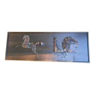 Mid Century Brutalist Roman Horses Metal Sculpture Wall Art