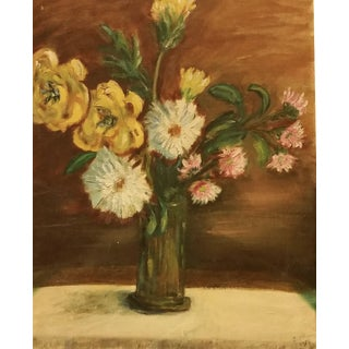 1954 Floral Still Life Canvas Board