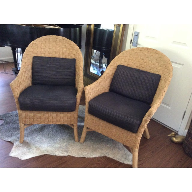 Woven Bistro Chairs With Cushions - A Pair - Image 2 of 5