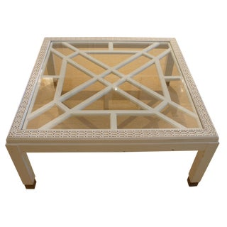 White Chinoiserie Coffee Table With Glass