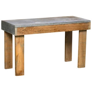 Primitive Zinc Topped Wooden Table or Bench