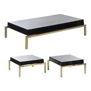 Brass & Black Resin Side Tables & Coffee Table with Gold Veining, Set of 3, Circa 1970