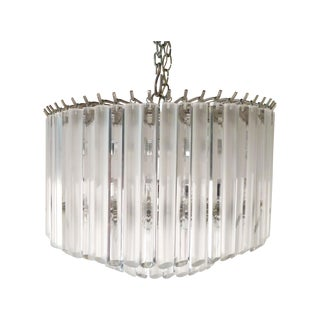 2 Tier Chrome & Lucite Chandelier & Canopy