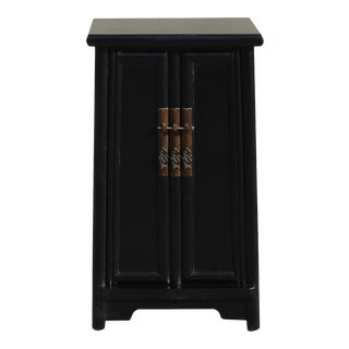 Chinese Oriental Black Ming Style Noodle Shape End Table Nightstand