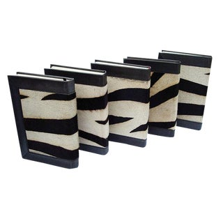 Zebra Print Hide and Leather Bound Books